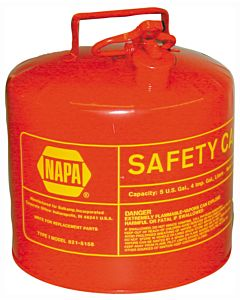 Gas Can, Type I Safety Can, 5 Gal., Red Steel